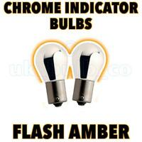 CHROME SILVER 581 BAU15S 21W AMBER INDICATOR BULBS PAIR