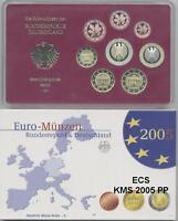 Deutschland Euro-KMS 2005 Spiegelglanz PP A-D-F-G-J alle 5 komplett