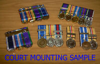 3 COURT MOUNTED MEDALS, MINIATURE MEDAL SUPPLYING & COURT MOUNTING - BRAND NEW