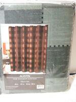 NEW Victoria Classics AUSTIN Fabric SHOWER CURTAIN 72x72 ~SAGE LITE BLACK SQUARE
