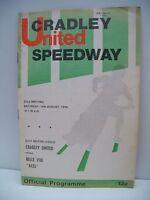 Speedway Programme, Cradley United v Belle Vue 14.08.76