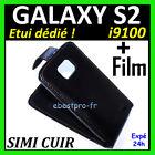 Accessoire Coque Housse Etui Cuir Noir Samsung Galaxy S2 I9100 Fim +Film