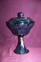 Indiana Glass blue carnival Harvest wedding bowl compote comport w/lid VGUC