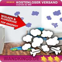 Wandkings Wandtattoo Wolken Flugzeuge Kinderzimmer Wohnzimmer Wandsticker 120x84
