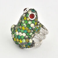 """Handcrafed Sterling Silver Full Figured of A Playful Frog Ring 1 1/2"""" Tall x 1"""""""