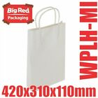 250 Midi White Kraft Paper Gift & Shopping Bags w/ Twist Rope Handle 420x310x110