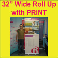 LOT OF 2 (TWO) - Retractable Trade Show Banner Stands Pop Up + 2 FREE PRINTs