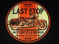 HERITAGE SOFTAIL MOTORCYCLE REPAIR SHOP VINTAGE LOOK LAST STOP BIKER T SHIRT