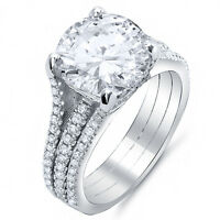 2.25 Ct Round Cut Diamond Engagement Ring w/ Round Pave EGL H,VS2 18K White Gold