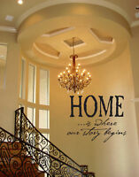 HOME IS WHERE OUR  STORY BEGINS WALL DECAL VINYL ART