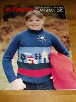 VINTAGE KNITTING PATTERN PATONS 1960 DK CHILDS PICTURE SCENE MOTIF SWEATER