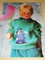 VINTAGE KNITTING PATTERN PATONS 3314 DK CHILDS CLOWN MOTIF SWEATER