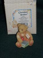 "Cherished Teddies ""School Days"" SETEMBER   BEAR figurine w/Box 1993"