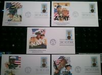 LOT/5 COMPLETE DESERT STORM FIRST DAY OF ISSUE 29 CENT STAMP/COVERS MINT