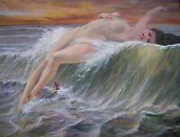 "DAVID ALDUS ORIGINAL OIL ON CANVAS NUDE ""The Wave Queen"" FAIRY  PAINTING"