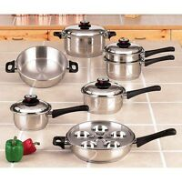 NEW 17pc 304 Stainless Steel SS Cooking Set.Steam Control.Waterless.Egg Cooker