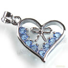 8x 140232 New Blue Rhinestones Heart Love Charms Bail Pendants Findings 23x18mm