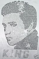 ELVIS KING iron-on HOTFIX RHINESTONE CRYSTAL BEAD BLING TSHIRT TRANSFER PATCH