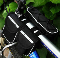 Bike Bicycle 3 IN 1 Multi-function front frame tube pannier Bag black with Cover