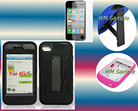 Screen Protector+Black Hybrid Kickstand iPhone 4 4G 4S Cover Hard Case