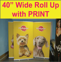 "LOT OF 2 - Pop Up Retractable 40"" WIDE Trade Show Banner Stands + FREE PRINTING"