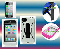 Screen Protector+White/Black Hybrid Kickstand iPhone 4 4G 4S Cover Hard Case