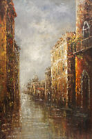 "24""x36"" Canvas Wall Art Oil Painting Hand Painted - Venice Canal"