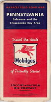 VINTAGE 1930'S (?) MIRACLE FOLD ROAD MAP MOBILGAS PENNSYLVANIA DELAWARE SOCONY