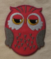 OWL PINK  embroidered Iron Sew On Patch Emo Goth Punk Rock