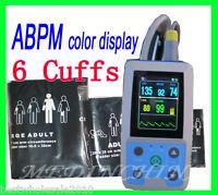 24 hour Ambulatory Blood Pressure Monitor BP PR with USB Cable +6 cuffs FDA