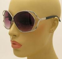 New 80's Vintage Style Oversized Womens Designer Fashion Silver Large Sunglasses