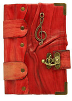 Music Note Sculpture on Red Leather Bound Journal - Notebook - Diary Sketchbook