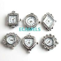 1pcs Antique Silver Tone Crystal Rhinestone Quartz Watch Face For Beading