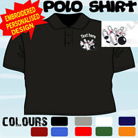 PERSONALISED EMBROIDERED TEN PIN BOWLING DESIGN LOGO CLUB PLAYER T POLO SHIRT