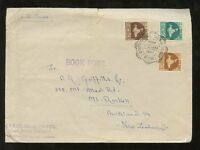 INDIA 1957 FIRST DAY COVER DECIMAL MAPS 3 VALUES SPECIAL PMK to NZ...BOOK POST