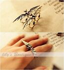 Retro Cool Bronze / Silver Bat Wing Two / Double Finger Stretch Adjustable Ring