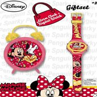 DISNEY MINNIE MOUSE ALARM CLOCK & DIGITAL WATCH GIFT SET KIDS BOYS GIRLS CHILDS