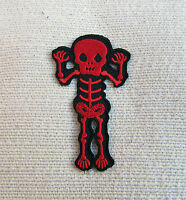 CUTE RED SCARY SKELETON  Iron On/Sew On Patch Emo Goth Punk Rock