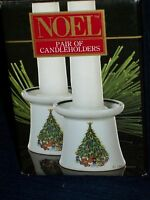 """House of Salem CHRISTMAS """"NOEL"""" PAIR OF porcelain CANDLE HOLDERS w/Box"""