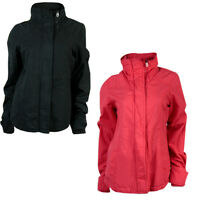 Soul Cal Zip Up Jacket High Collar & Concealed Hooded Coat - Black / Coral Pink