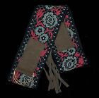 Hippie Boho Retro 70s Embroidered Flowers Sash Belt