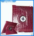 Purple The New iPad 4 4G iPad 3 iPad 2 Smart Crocodile Leather 360° Rotate Case