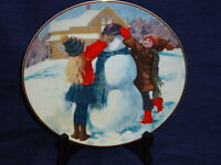 """Christmas Wonders of Childhood Collector's PLATE January """"BUILDING A SNOWMAN"""""""