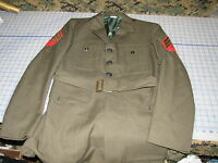 MARINE dress ALPHA USMC wool serge green corps 40L w/ belt 1967 date michael