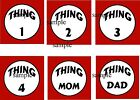 DR SEUSS THING 1 2 3 4 MOM & Dad IRON ON T-SHIRT TRANSFERS (DARK)