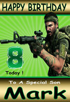 COD BLACK OPS Call Of Duty Personalised Birthday Card!! ANY AGE/NAME,GREAT CARD!