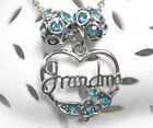 Silver Plated Grandma Heart Pendant Necklace With 2 Aqua Charm Beads Gift Idea