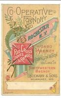 Great Victorian Fold-Out Trade Card- Cooperative Foundry Co.- Red Cross Stoves