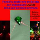 FANALINO POSTERIORE luce VERDE PER BICICLETTA CON LASER LUCE BICI BIKE LIGHT