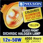 Coloured halogen light globe YELLOW - 12V 50W MR16 lamp bulb